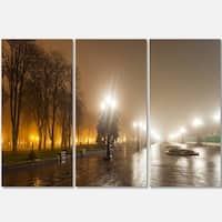 Designart - Avenue of City Park at Night - Cityscape Photography Glossy Metal Wall Art