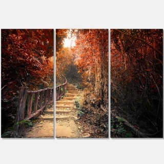 Designart - Stairway Through Red Fall Forest - Landscape Photo Glossy Metal Wall Art