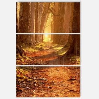 Designart - Magic Morning at the Fall Park - Landscape Photo Glossy Metal Wall Art