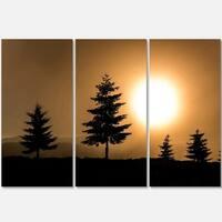 Designart - Bright Sunrise Tree Silhouette - Landscape Glossy Metal Wall Art