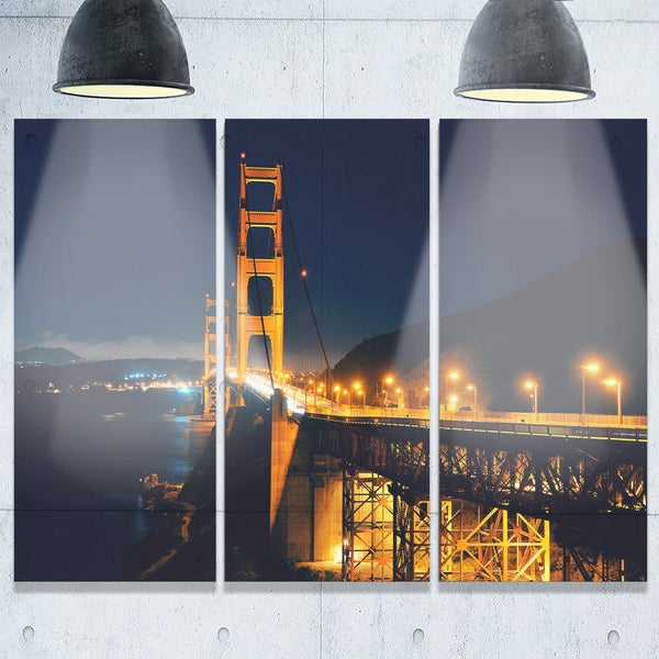 Golden Gate With Night Illumination Sea Bridge Glossy Metal Wall Art
