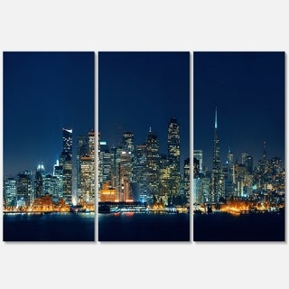 Designart - San Francisco Skyline at Night - Cityscape Glossy Metal Wall Art