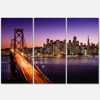 Designart - San Francisco skyline and Bay Bridge - Sea Bridge Glossy Metal Wall Art
