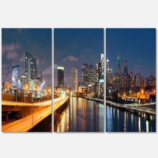 Designart - Philadelphia Skyline at Night - Cityscape Glossy Metal Wall Art