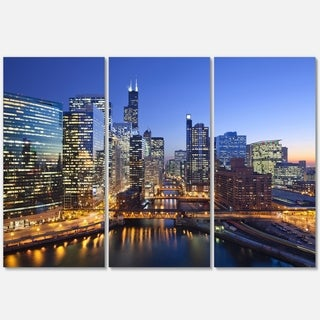 Designart - Chicago River with Bridges at Sunset - Cityscape Glossy Metal Wall Art