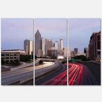 Designart - Atlanta Georgia Rush Hour Traffic at Dusk - Cityscape Glossy Metal Wall Art