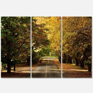 Designart - Road through Beautiful Green Trees - Landscape Glossy Metal Wall Art