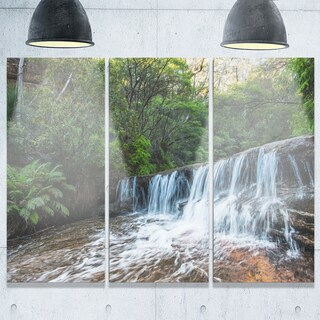 Designart - Beautiful Waterfall in New Australia - Landscape Glossy Metal Wall Art