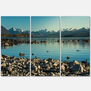 Designart - Blue Waters in Rocky Beach Panorama - Landscape Glossy Metal Wall Art