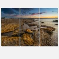 Designart - Large Brown Rocks at Sydney Beach - Large Seashore Glossy Metal Wall Art