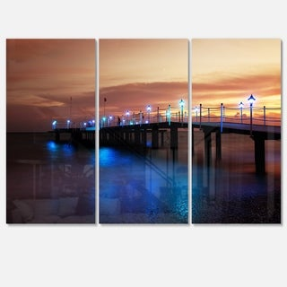 Designart - Blue Waters and Bridge at Sunset - Sea Bridge Glossy Metal Wall Art