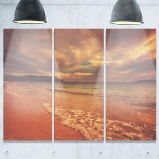 Designart - Brown Serene Tropical Beach - Large Seashore Glossy Metal Wall Art
