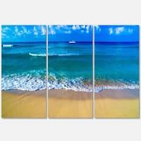 Designart - Floating Blue Waves Beach - Large Seashore Glossy Metal Wall Art