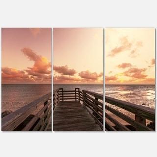 Designart - Boardwalk on Beach Wooden Pier - Sea Bridge Glossy Metal Wall Art