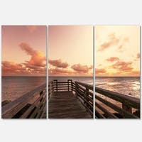 Designart - Boardwalk on Beach Wooden Pier - Sea Bridge Glossy Metal Wall Art - Multi - 36 x 28