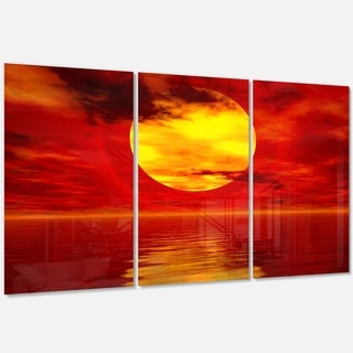 Designart - Golden Sun Sinking in Red Waters - Large Seashore Glossy Metal Wall Art - 36 in. wide x 28 in. high - 3 panels