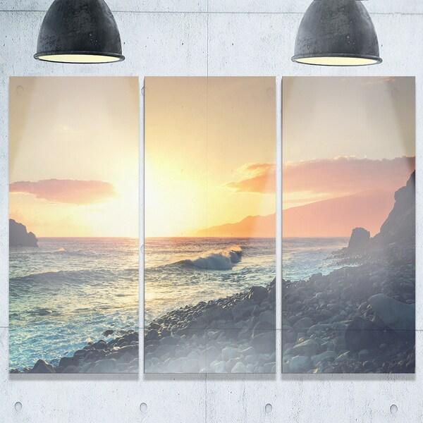 Designart - Madeira Coast with Blue Waters - Large Seashore Glossy ...