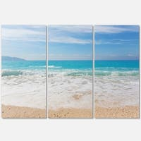 Designart - White Waves Kissing Beach Sand - Large Seashore Glossy Metal Wall Art