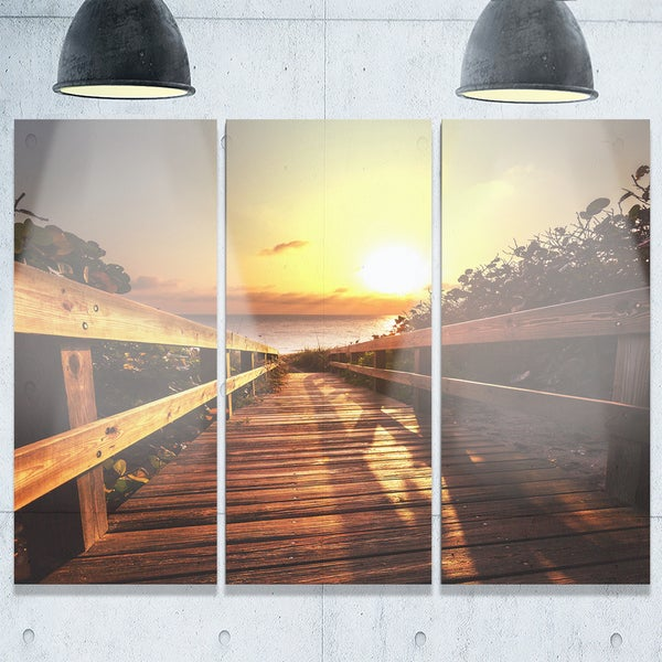 Designart - Wooden Boardwalk on Beach - Sea Bridge Glossy Metal Wall Art - Brown