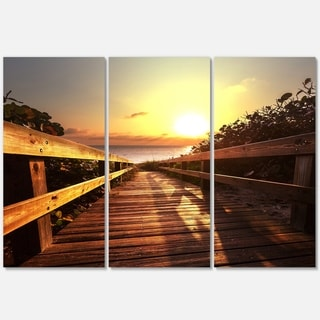 Designart - Wooden Boardwalk on Beach - Sea Bridge Glossy Metal Wall Art