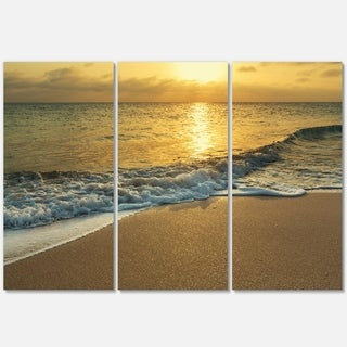 Designart - White Waves under Yellow Sunset - Modern Beach Glossy Metal Wall Art