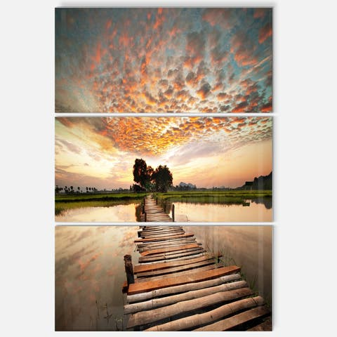 Designart - Makeshift Wooden Pier Over River - Sea Bridge Glossy Metal Wall Art - 28 in. wide x 36 in. high - 3 panels