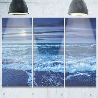 Designart - Blue Everywhere - Blue Sky and Waters - Seashore Glossy Metal Wall Art