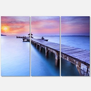 Designart - Purple Seas and Long Wooden Pier - Sea Pier and Bridge Glossy Metal Wall Art