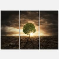 Designart - Lonely Tree under Dramatic Sky - Extra Large Glossy Metal Wall Art Landscape