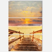 Designart - Brown Wooden Boardwalk into Beach - Large Sea Bridge Glossy Metal Wall Art