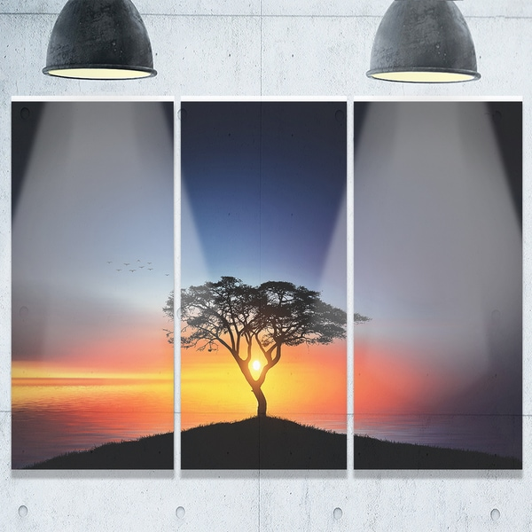 Designart - Beautiful Sunset over Lonely Tree - Extra Large Glossy Metal Wall Art Landscape - Multi