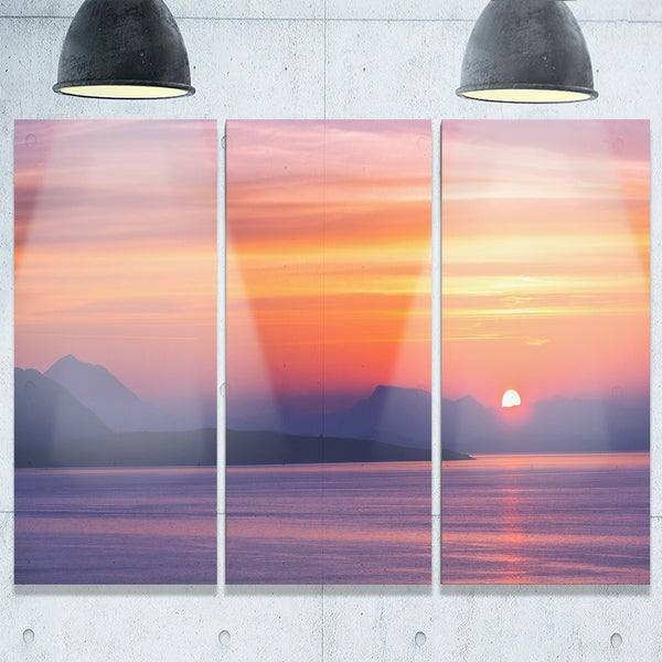 Designart Stunning Sunset In Greece Extra Large Seascape Glossy Metal Wall Art 36