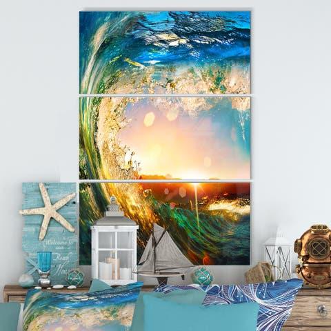 Designart 'Colored Ocean Waves Falling Down' Seashore Metal Wall Art