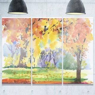 Designart - Autumn Park Yellow Trees Watercolor - Landscape Glossy Metal Wall Art