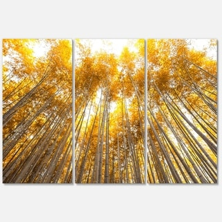 Designart - Autumn Bamboo Grove in Yellow - Oversized Forest Glossy Metal Wall Art