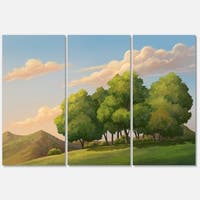 Designart - Green Mounds with Green Trees - Oversized Landscape Glossy Metal Wall Art