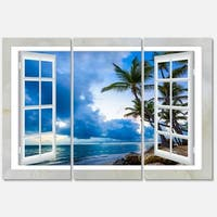 Designart - Window Open to Cloudy Blue Sky - Oversized Landscape Glossy Metal Wall Art