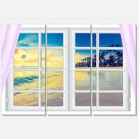 Designart - Closed Window to Ocean Sunset - Oversized Landscape Glossy Metal Wall Art