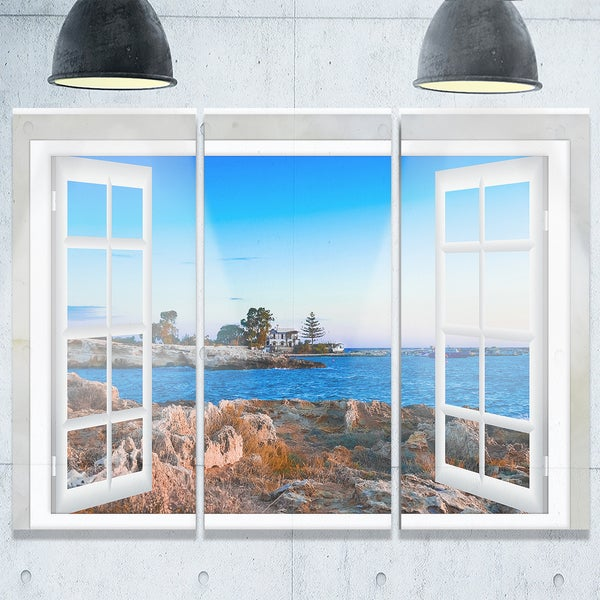 Designart - Open Window to Blue Seashore - Oversized Landscape Glossy Metal Wall Art