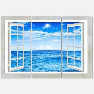 Designart - Window Open to Blue Wavy Ocean - Extra Large Seashore Glossy Metal Wall Art