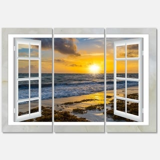 Designart - Open Window to Bright Yellow Sunset - Modern Seascape Glossy Metal Wall Art