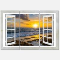 Designart - Open Window to Bright Yellow Sunset - Modern Seascape Glossy Metal Wall Art