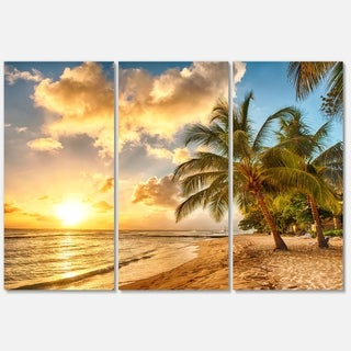 Designart - Gorgeous Beach of Island Barbados - Modern Seascape Glossy Metal Wall Art