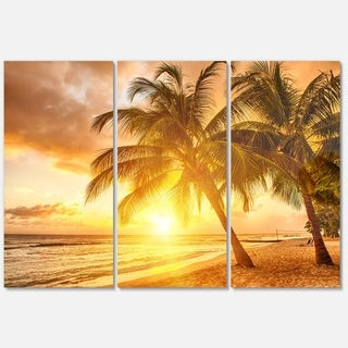 Designart - Bright Sunset at Barbados Island - Modern Seascape Glossy Metal Wall Art