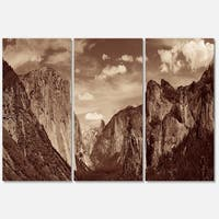 Designart - Rocks and Forest in Black and White - Landscape Glossy Metal Wall Art