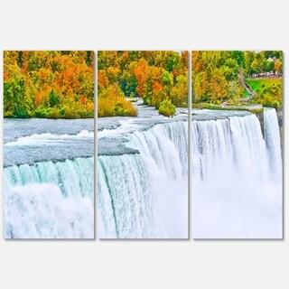 Designart - Autumn Niagara Falls Panorama - Landscape Glossy Metal Wall Art