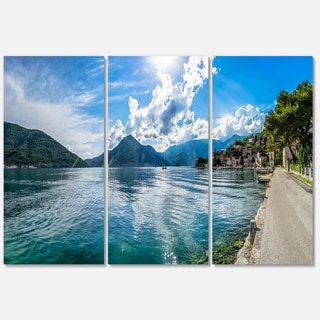 Designart - Kotor Bay on Summer Day Panorama - Landscape Glossy Metal Wall Art