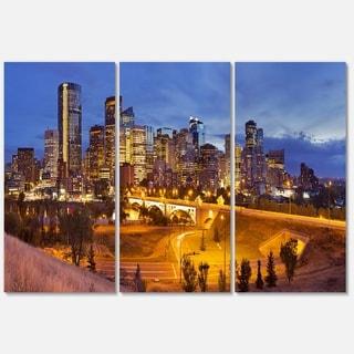Designart - Skyline of Calgary at Night Panorama - Modern Cityscape Glossy Metal Wall Art
