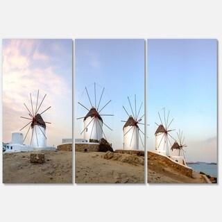 Designart - Traditional Greek Windmills Panorama - Landscape Glossy Metal Wall Art