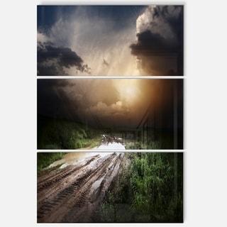 Designart - Muddy Countryside Roads under Dark Clouds - Landscape Glossy Metal Wall Art
